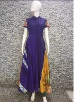 Digital Print Multi Colour Maslin Silk Designer Gown