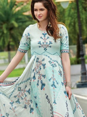 Digital Print Multi Colour Trendy Gown