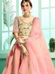 Digital Print Organza Pink Designer Lehenga Choli