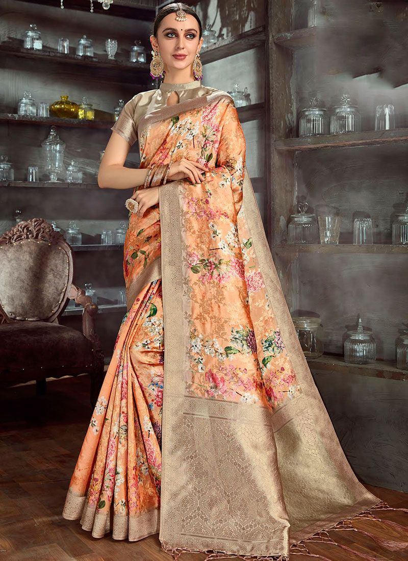 Digital Print Party Silk Saree