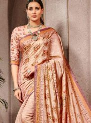 Digital Print Peach Trendy Saree