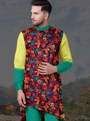 Digital Print Poly Cotton Kurta Pyjama in Multi Colour