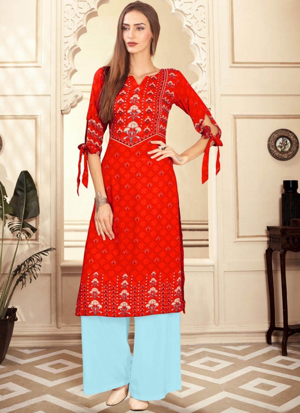 Digital Print Red Rayon Palazzo Designer Salwar Suit