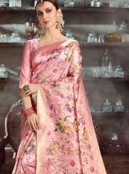 Digital Print Rose Pink Art Silk Classic Saree