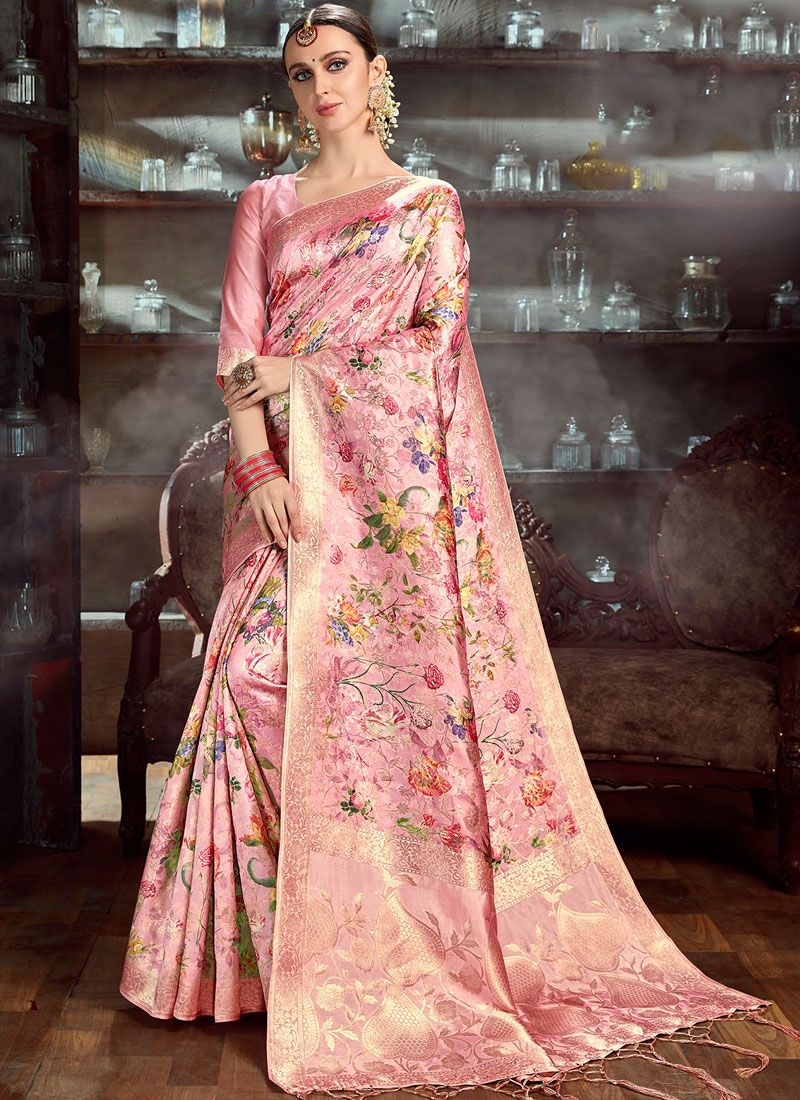 Digital Print Rose Pink Art Silk Classic Saree