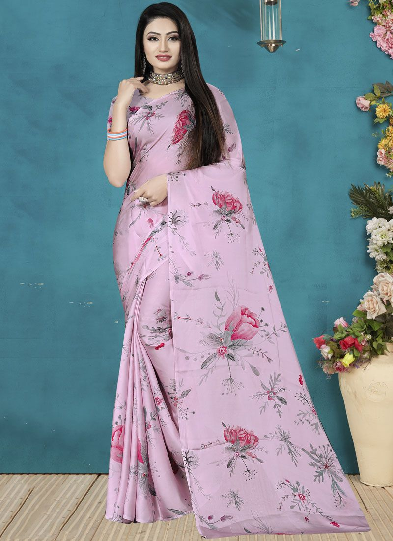 Digital Print Satin Silk Lavender Silk Saree