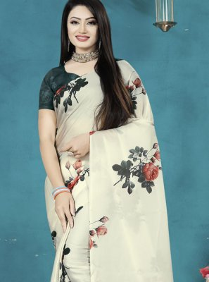Digital Print Satin Silk Traditional Saree in Off White