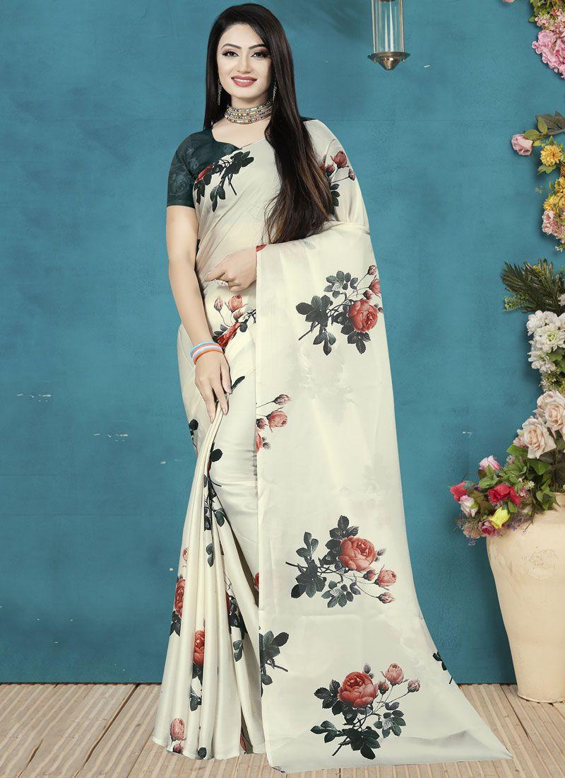 Digital Print Satin Silk Traditional Saree in Off White
