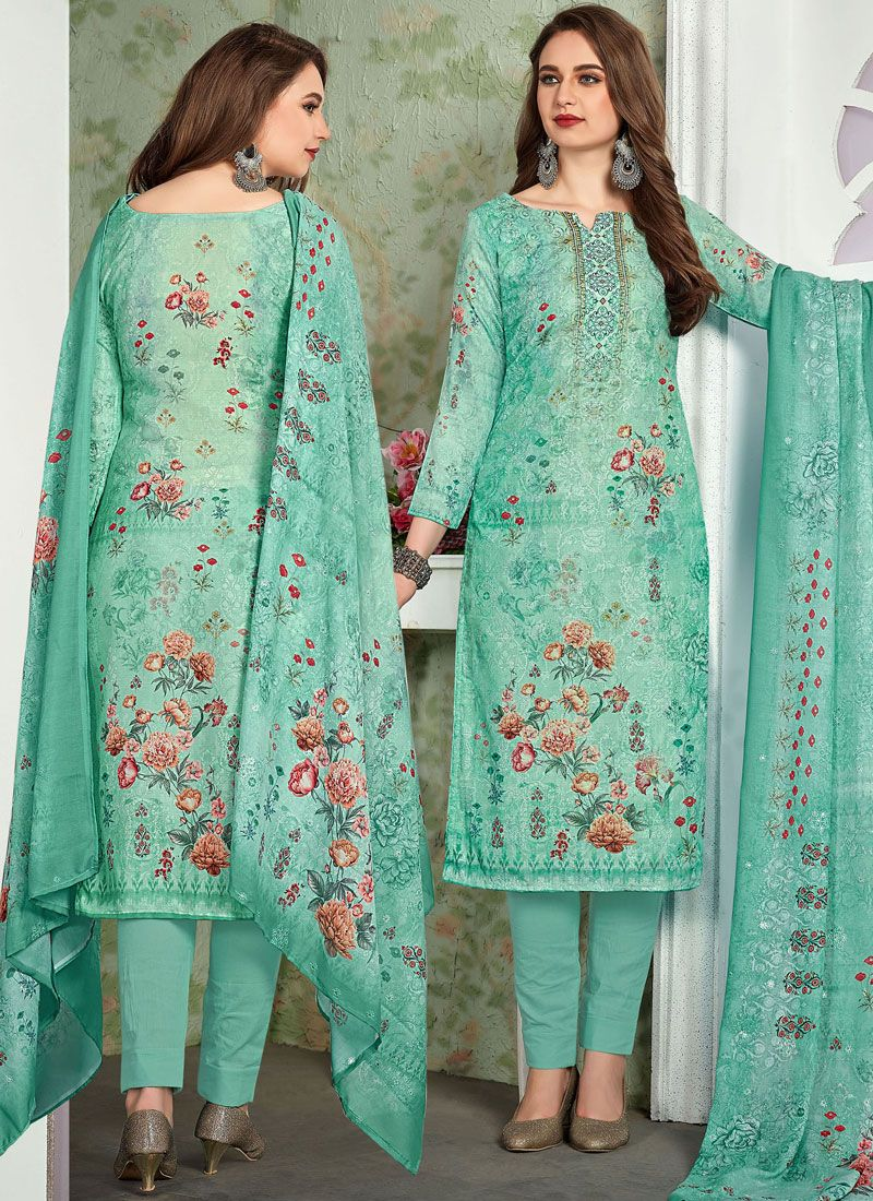Digital Print Sea Green Muslin Pant Style Suit