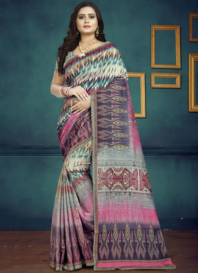 Digital Print Silk Casual Saree