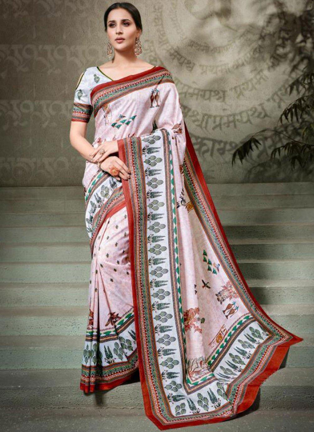 Digital Print Tussar Silk Multi Colour Classic Saree