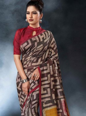 Digital Print Tussar Silk Multi Colour Printed Saree