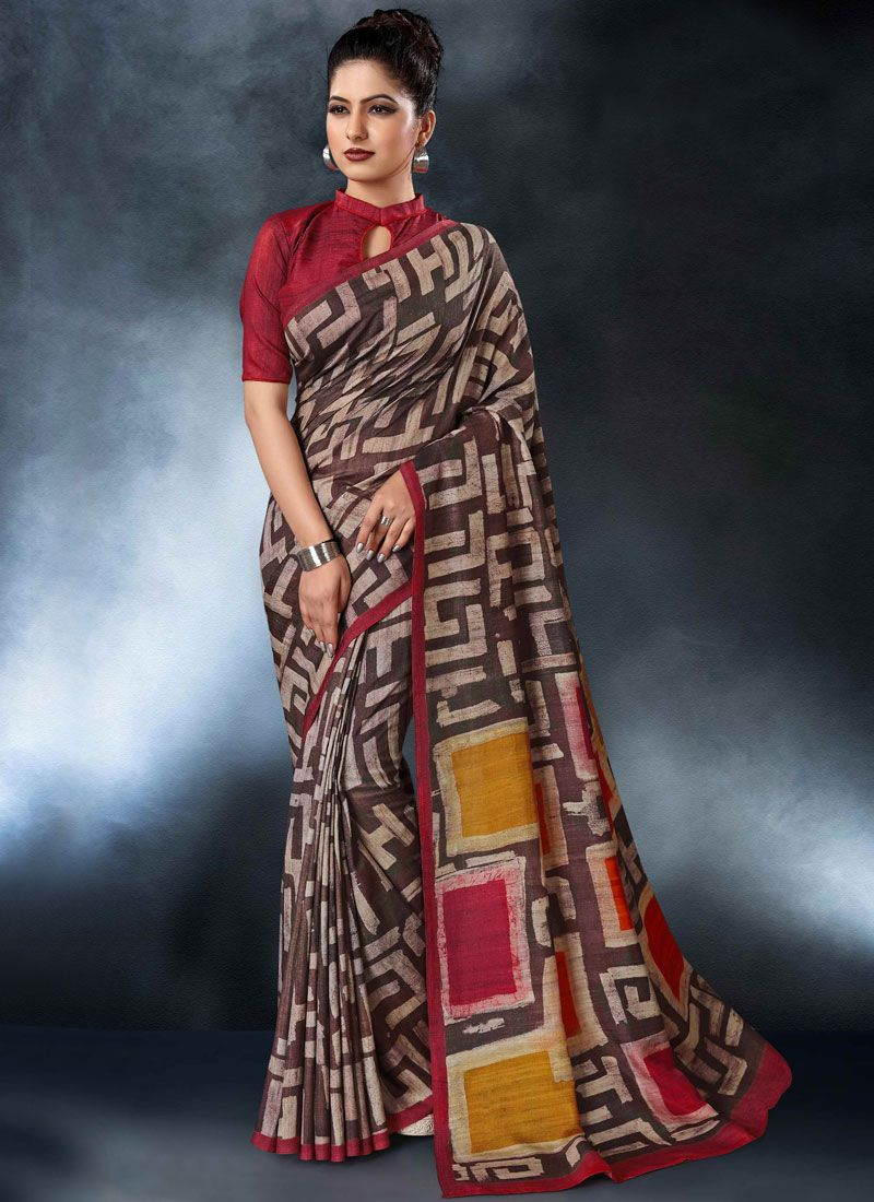 Digital Print Tussar Silk Multi Colour Printed Saree