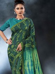 Digital Print Tussar Silk Printed Saree in Green