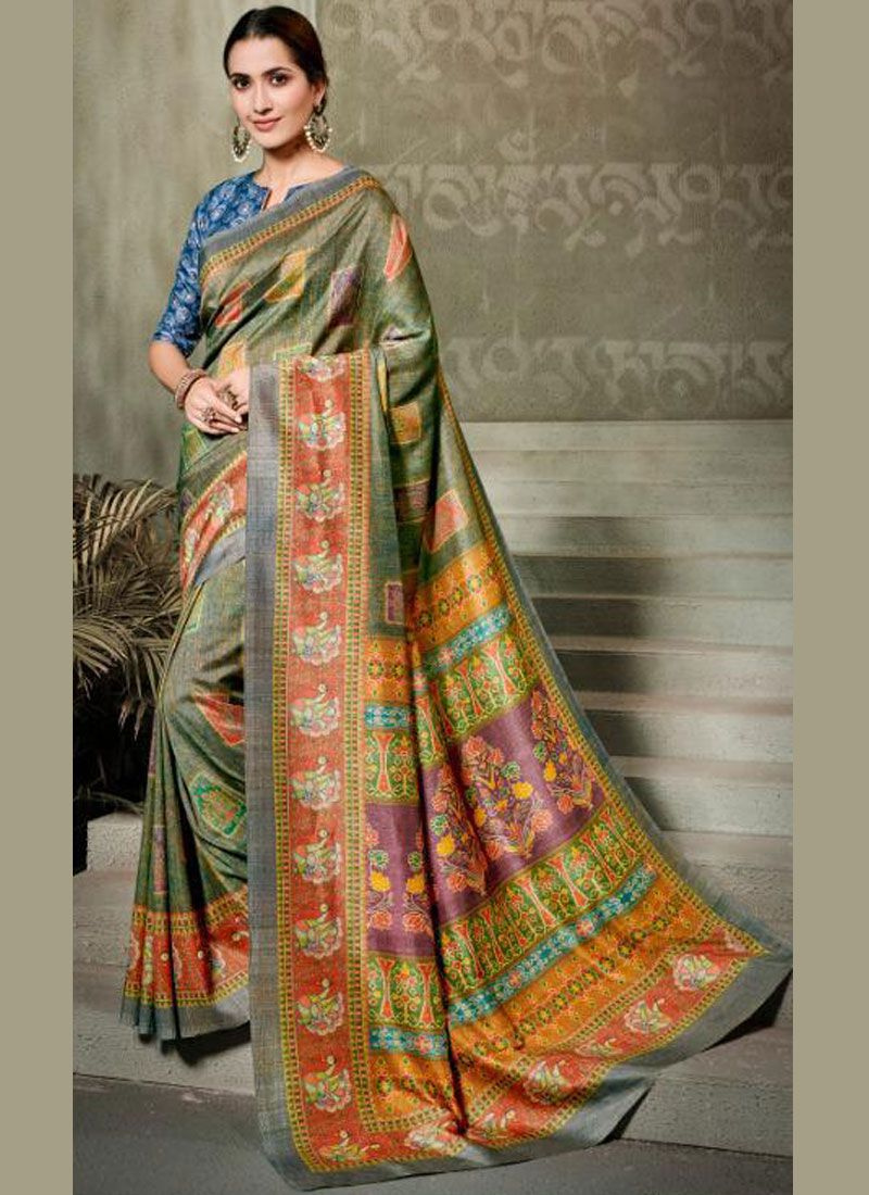 Digital Print Tussar Silk Silk Saree