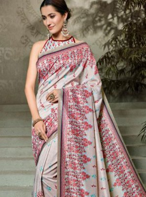 Digital Print Tussar Silk Silk Saree in Multi Colour