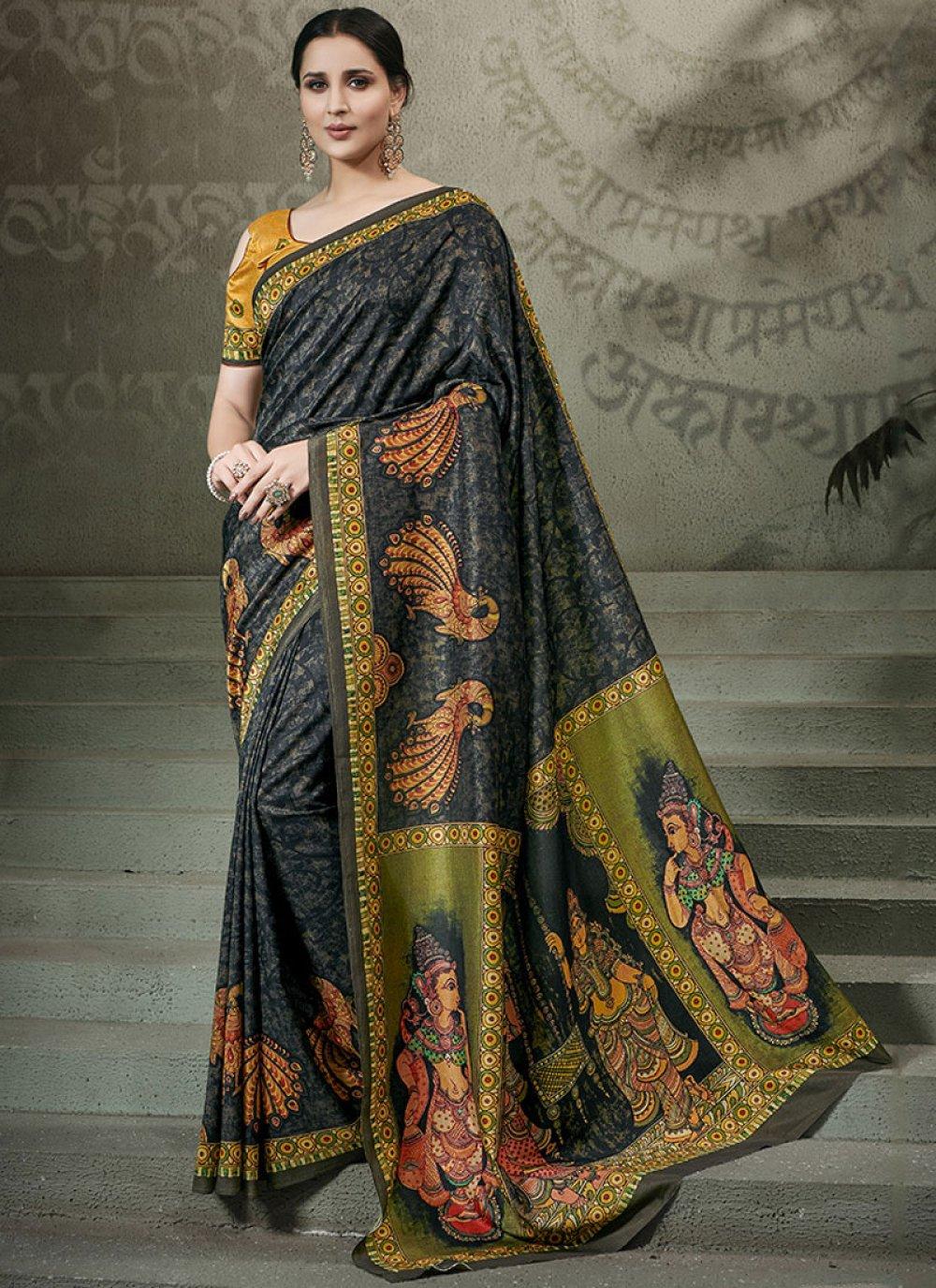 Digital Print Tussar Silk Traditional Saree