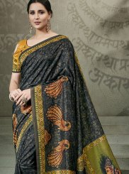 Digital Print Tussar Silk Traditional Saree