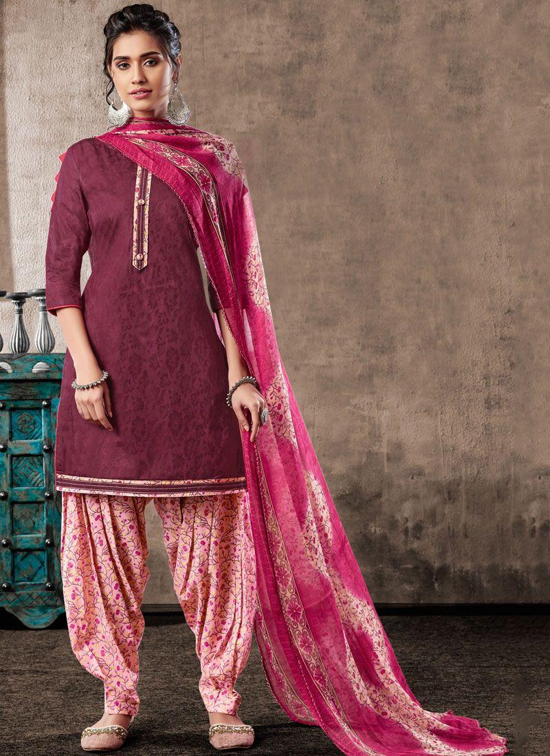 Digital Print Violet Trendy Patila Salwar Suit