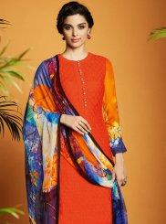 Digital Print Work Cotton Satin Designer Suit