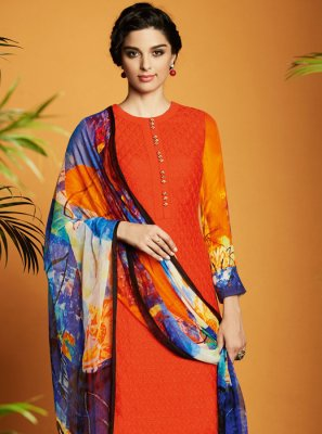 Digital Print Work Cotton Satin Designer Suit