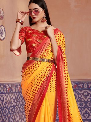 Digital Print Yellow Silk Saree