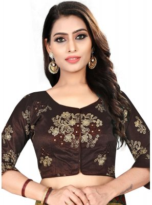 Divine Brown Color Designer Blouse With Embroidery Work