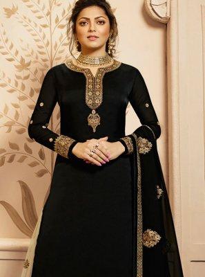 Drashti Dhami Black Georgette Satin Designer Palazzo Suit