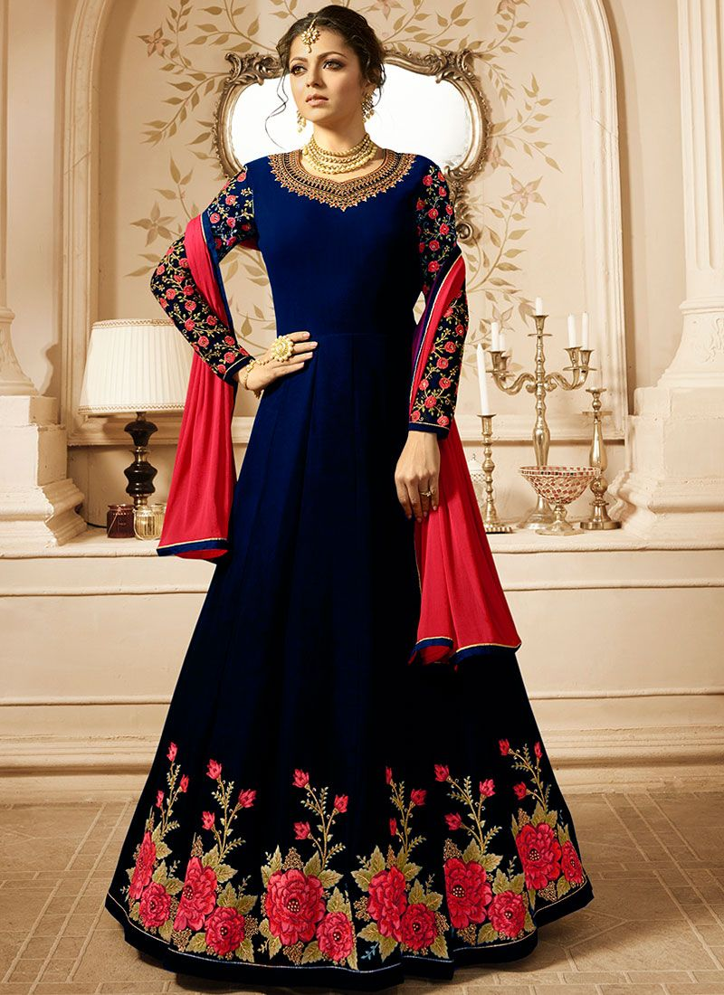 Drashti Dhami Faux Georgette Blue Floor Length Anarkali Suit