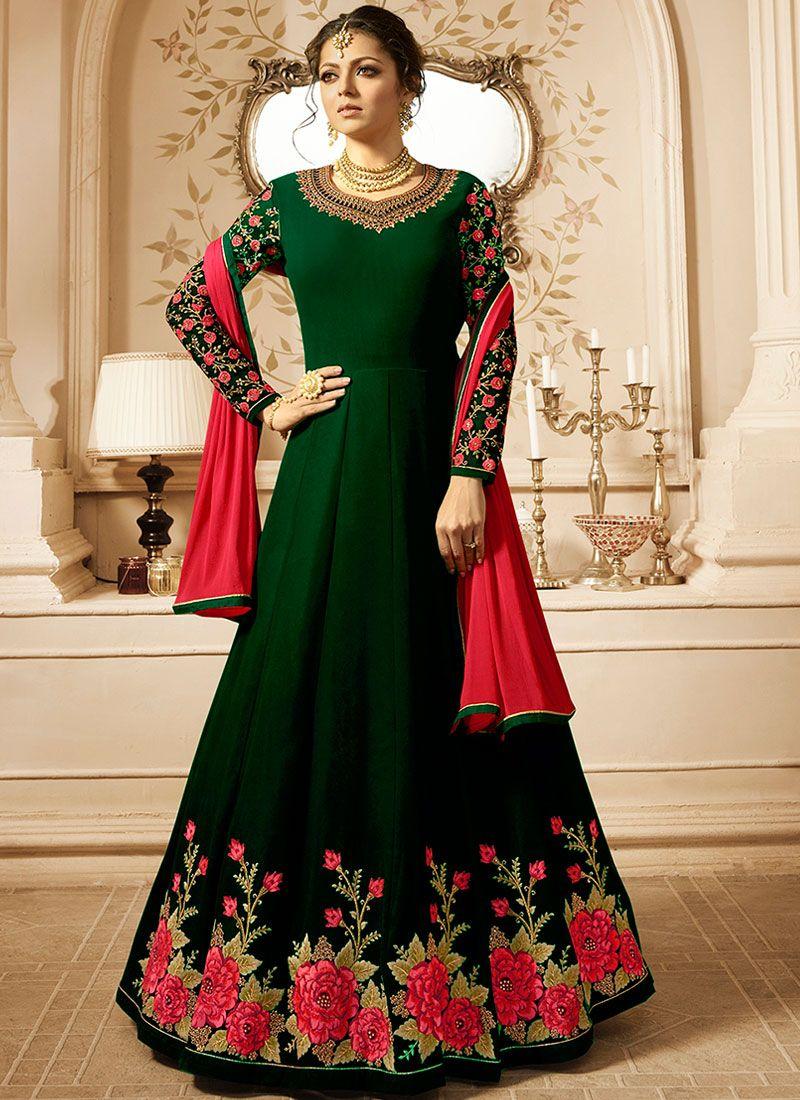 Drashti Dhami Faux Georgette Green Floor Length Anarkali Suit