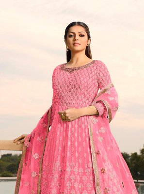 Drashti Dhami Faux Georgette Hot Pink Floor Length Anarkali Suit