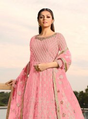 Drashti Dhami Faux Georgette Pink Floor Length Anarkali Suit