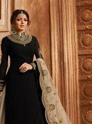 Drashti Dhami Georgette Satin Black Embroidered Lehenga Choli