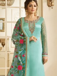Drashti Dhami Georgette Satin Blue Resham Churidar Designer Suit