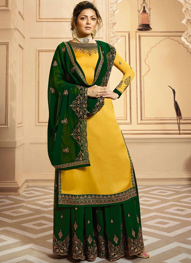 Drashti Dhami Georgette Satin Yellow Resham Designer Palazzo Suit