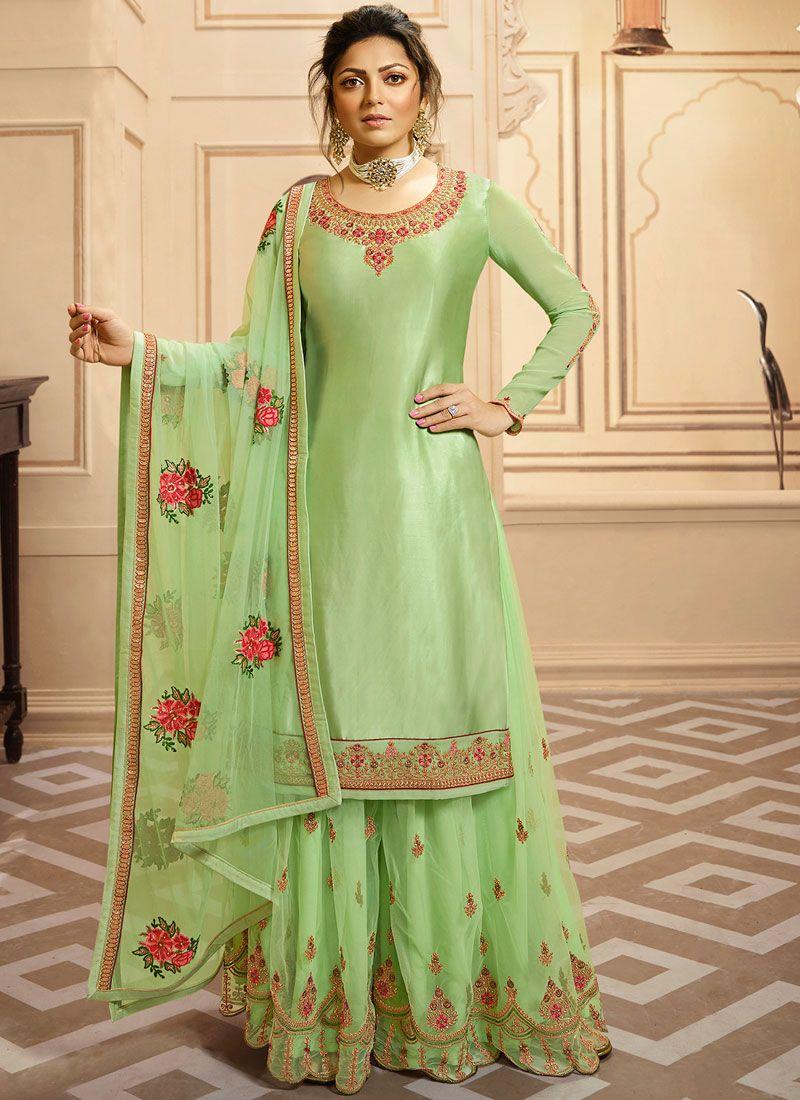 Drashti Dhami Green Georgette Satin Designer Palazzo Suit
