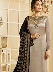 Drashti Dhami Grey Ceremonial Churidar Designer Suit