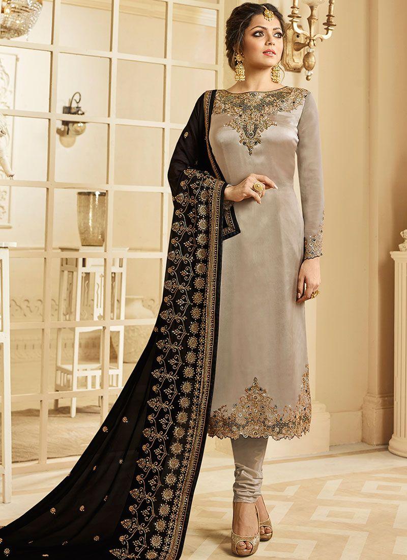 Drashti Dhami Grey Ceremonial Churidar Designer Suit