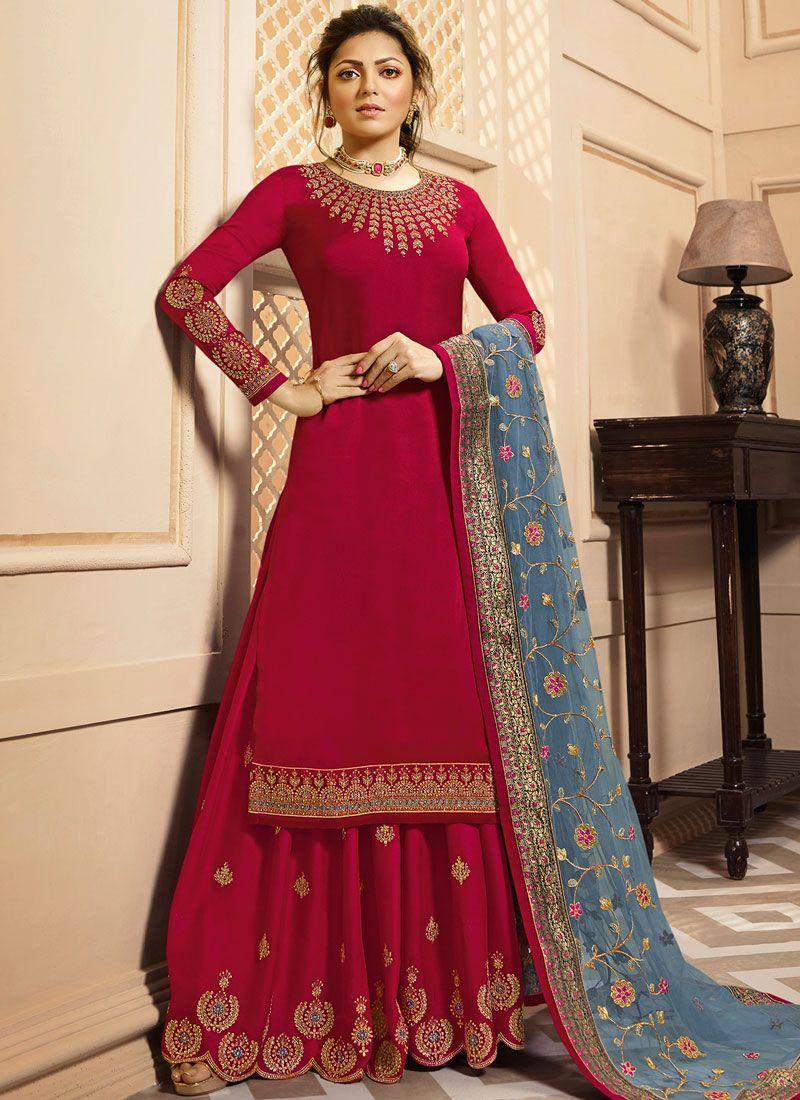 Drashti Dhami Hot Pink Georgette Satin Designer Palazzo Suit