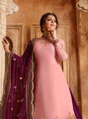 Drashti Dhami Pink Georgette Satin Lehenga Choli