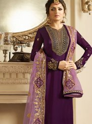 Drashti Dhami Purple Embroidered Churidar Designer Suit