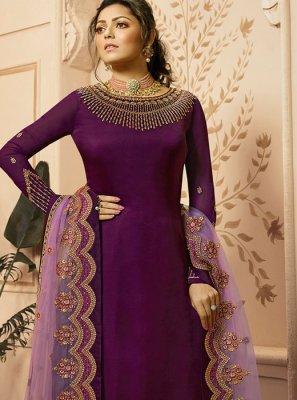 Drashti Dhami Purple Georgette Satin Designer Palazzo Suit