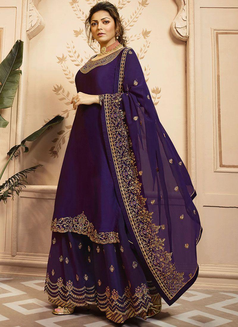 Drashti Dhami Purple Georgette Satin Resham Designer Palazzo Suit