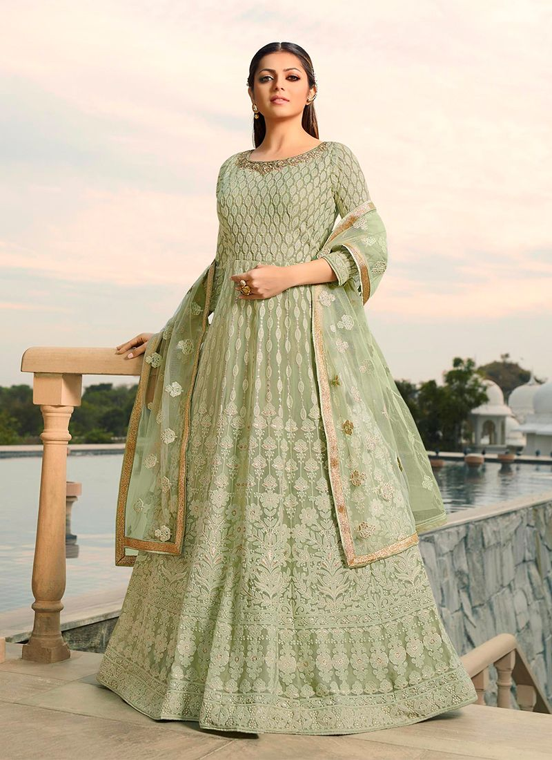 Drashti Dhami Sea Green Faux Georgette Embroidered Floor Length Anarkali Suit