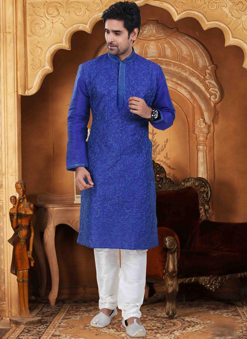 Dupion Silk Blue Embroidered Kurta Pyjama