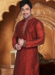 Dupion Silk Embroidered Kurta Pyjama in Maroon