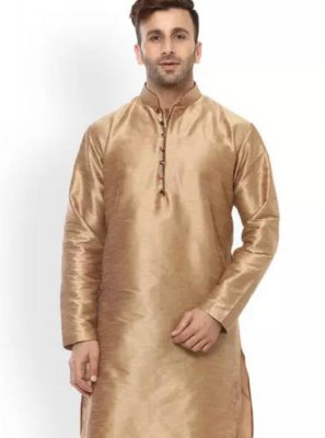 Dupion Silk Gold Kurta Pyjama
