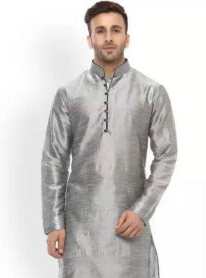 Dupion Silk Grey Plain Kurta Pyjama