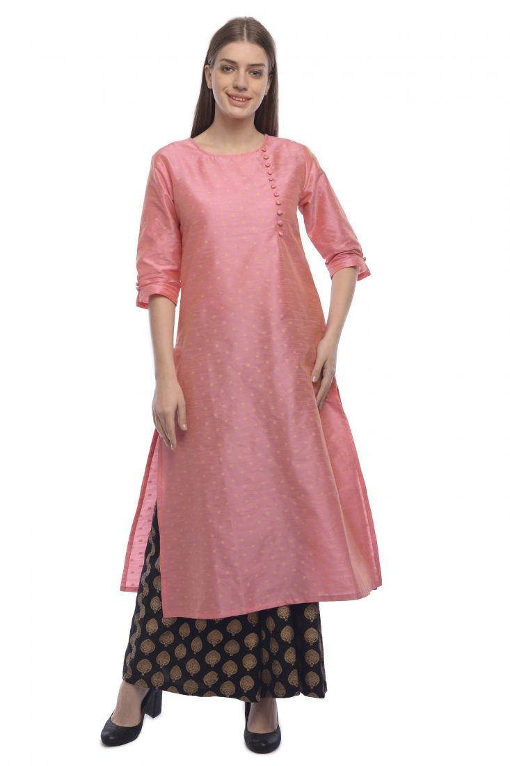 Dupion Silk Pink Plain Designer Kurti