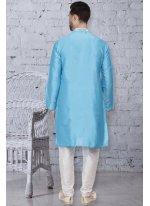 Dupion Silk Turquoise Embroidered Kurta Pyjama